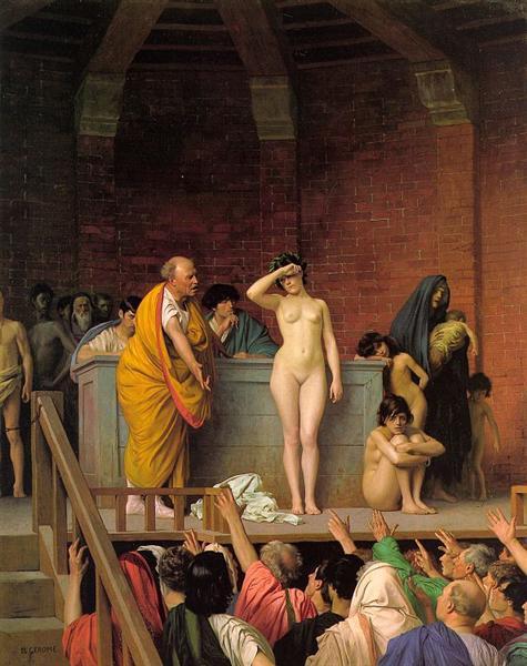 Slavenhandelaar op slavenmarkt